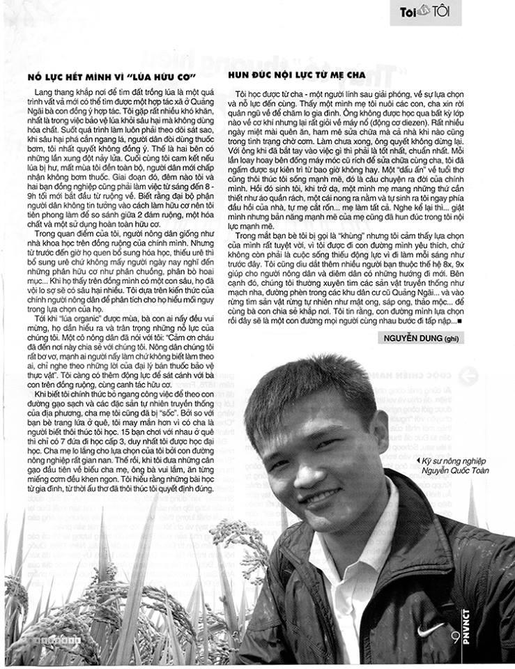 Anh Nguyễn Quốc Toàn - Thời điểm xây dựng thương hiệu gạo sạch