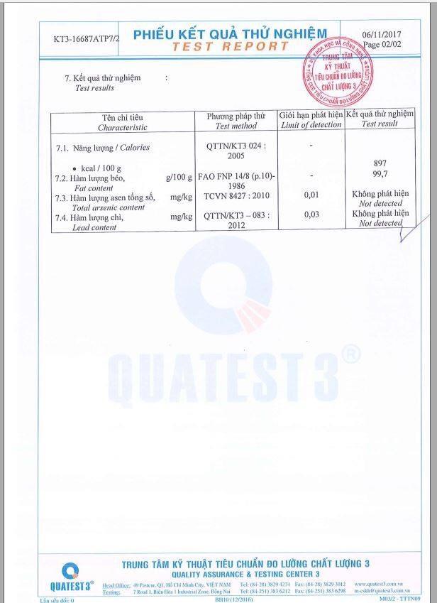Chứng nhận chất lượng dầu dừa Nhân Thùy 2