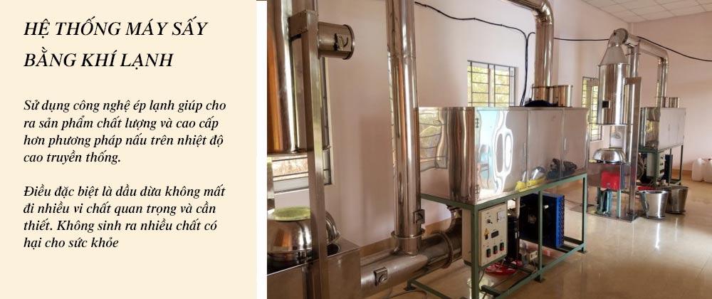 Hệ thống máy sấy, ép lạnh dầu dừa